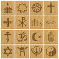 Religion Symbols Religious Wooden Buttons Royalty Free Stock Photography