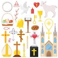 Religion vector catholic church or cathedral and religious sings of christianity illustration set of christian cross or Royalty Free Stock Photo