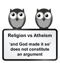 Religion verses atheism monochrome sign isolated on white background Stock Photography