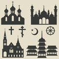 Religious Buildings Set And Sy...
