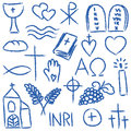 Religious chalky symbols illustration of hand drawn style Royalty Free Stock Photo
