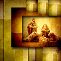 Religious christmas cards nativiy scene in golden geometric background Royalty Free Stock Photos