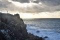 Religious concept christian cross on a cliff and spiritual Stock Photos