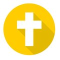 Religious cross, Christian sign icon with long shadow