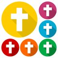 Religious cross, Christian sign icons set with long shadow