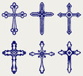 Religious cross design collection doodle style Stock Photos