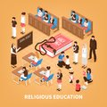 Religious Education Isometric Composition Royalty Free Stock Photo