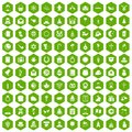 100 religious festival icons hexagon green