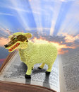 Religious fraud photo of a wolf in sheeps clothing standing on holy bible depicting sky area ideal for text etc Royalty Free Stock Images