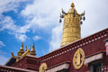 Religious gold symbol on top of a temple lhasa Stock Image