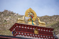 Religious gold symbol on top of a temple lhasa Stock Photography