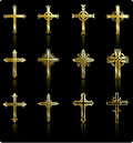 Religious golden cross design collection Royalty Free Stock Images