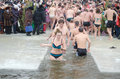 Religious holiday of Epiphany . People bathe in winter in the river  Samara Royalty Free Stock Photo