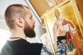 Religious icon painting process Royalty Free Stock Photo