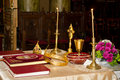 Religious objects some on a priest table Royalty Free Stock Image