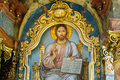 Religious Orthodox Icon Of Sitting Lord Jesus Royalty Free Stock Photo