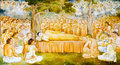 Religious painting in a Buddhist temple Stock Image