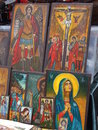 Religious painting on wood exposed on market ready for selling Stock Photos
