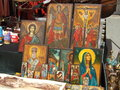 Religious painting on wood exposed on market ready for selling Stock Photo