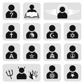 Religious people avatar set of icons Stock Image