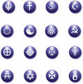 Religious purple icons set Stock Photos