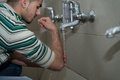 Religious rite ceremony of ablution hand washing muslim man preparing to take in mosque Royalty Free Stock Photography