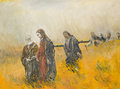 Religious scene christ and his disciples oil painting illustrating a jesus on a meadow Royalty Free Stock Photo