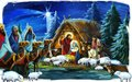 Religious scene with three kings and the holy family traditional illustration for children Royalty Free Stock Photo