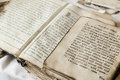 Religious scriptures old in old slavonic language Royalty Free Stock Image
