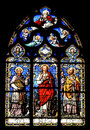 Religious stained glass mural window depicting christian or images vitre church vitre france Stock Photography