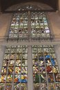 Religious stained glass windows in the new church at dam square in amsterdam city centre of netherlands Stock Photo