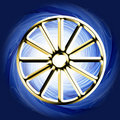 Religious symbol - buddhist karman wheel Royalty Free Stock Images