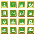 Religious symbol icons set green