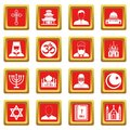 Religious symbol icons set red