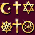 Religious symbols illustration gold on maroon background Royalty Free Stock Image