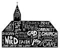 Religious word cloud art in shape of church, church bulletin design