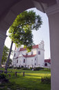 Religous Calvary church looking through the arch. Royalty Free Stock Photography