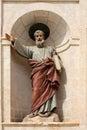 A religous statue at the church malta riligous set in stonework of Stock Photography