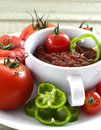 Relish tomato tomatoes with peppers onions and spices in a bowl on a tray Royalty Free Stock Photos