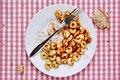 Remainders of a pasta dish Royalty Free Stock Photo