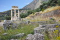 Remainings of athena pronaia sanctuary in ancient greek archaeological site of delphi greece central Stock Images