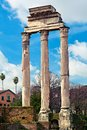 Remains of ancient colonnade. The Roman Forum. Royalty Free Stock Photo