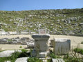 Remains of the Ancient Greek Theater at Archaeological Site of Delos, Delos Island, Greece Royalty Free Stock Photo