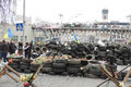 Remains of barricades kyiv ukraine march on institutska street which is adjacent to independance square Stock Image