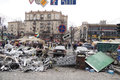 Remains of barricades kyiv ukraine march on kreschatik street where protest сontinue Royalty Free Stock Image