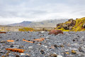 Remains of a boat wreck at the black beach on iceland snaefellsnes peninsula Royalty Free Stock Photography