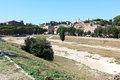 Remains circus maximus circo massimo meaning large circus ancient roman chariot racing stadium mass entertainment venue located Stock Photo