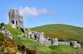 Remains of Corfe Castle in England Stock Photo