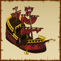 Remains of a pirate ship closeup with skeleton vector picture Royalty Free Stock Photography