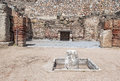 Remains of a roman house emerita augusta amphitheatre located in the spanish city merida Stock Images